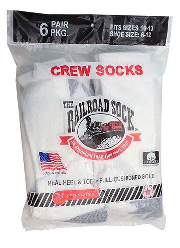 6 Pk Men's Crew Sock White (6090)
