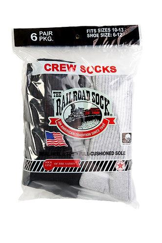 6 Pk Men's Crew Sock Black/Grey (6091)