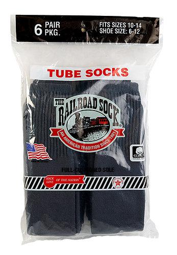 6 Pk Men's Tube Sock Dark Grey (6076)