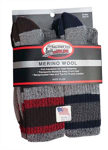 Men's 6 Pack  Merino Wool Crew Length Boot Sock in Assorted Colors 2846