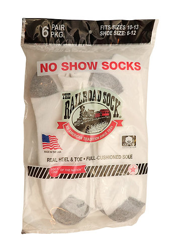 6 Pk Men's No Show Sock White (6066)