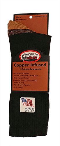 1 Pair Men's Copper Crew Sock Black (4002 BK)
