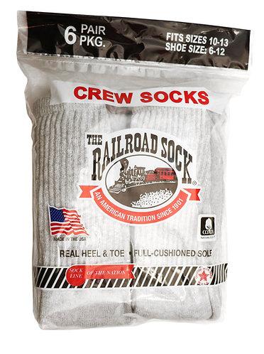 6 Pk Men's Crew Sock Grey (6072)