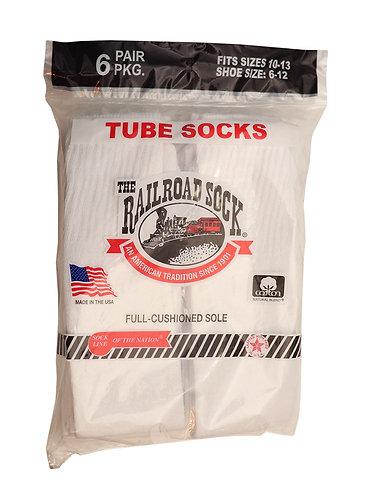6 Pk Men's Tube Sock White (6075)