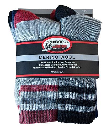 Men's 6 Pack Soft Spun Merino Wool Crew Length Boot Sock in Assorted Colors 2840