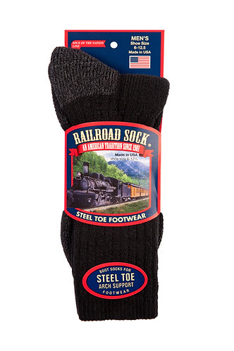 1 Pair Men's Steel Toe Crew Sock Black (6124 BK)