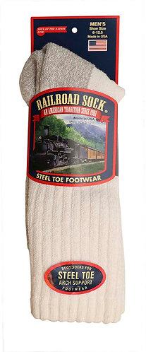1 Pair Men's Steel Toe Crew Sock White (6124 WT)