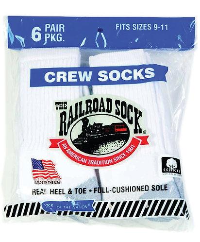 6 Pk Crew Sock White (8090)