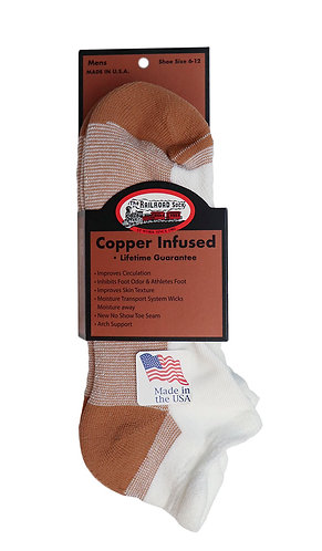 2-Pack Men's Copper No Show Sock with Heel Tab White (4000 WT)