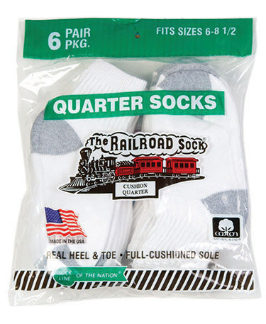6 Pk Youth Quarter Sock White (7082)