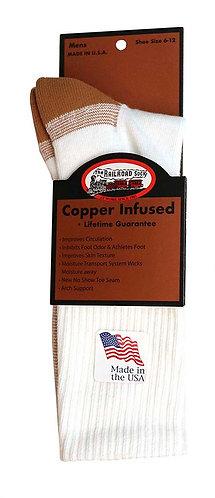 1 Pair Men's Copper Crew Sock White (4002 WT)