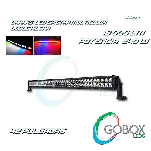 "Barra Led Epistar Doble Hilera Multicolor 42"" 240W"
