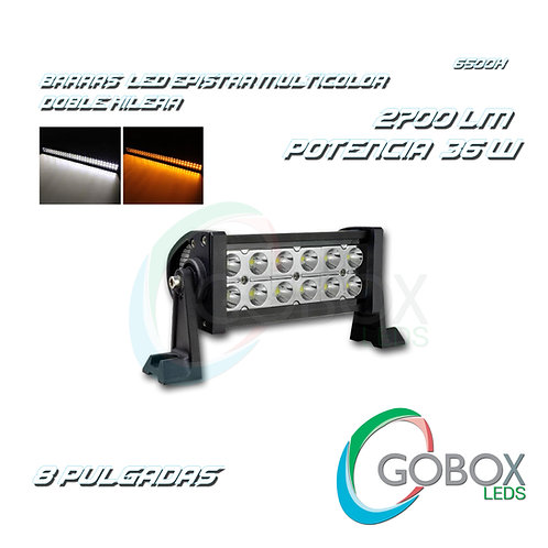 "Barra Led Epistar Doble Hilera Bicolor 8"" 36W"