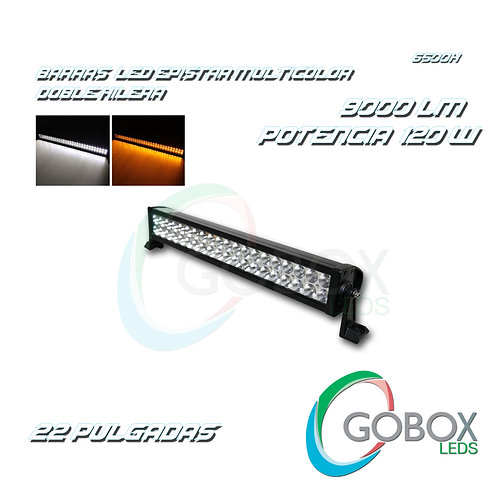 "Barra Led Epistar Doble Hilera Bicolor 22"" 120W"