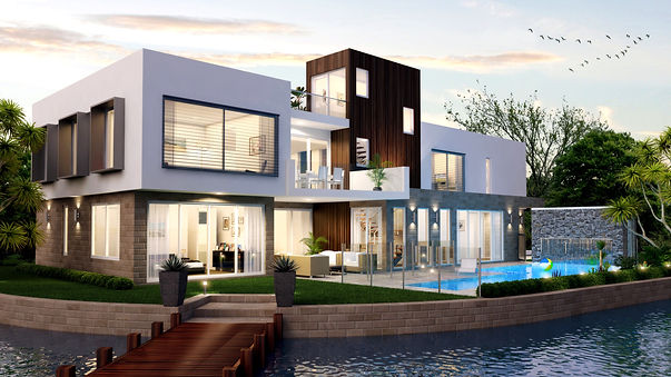 white and brown modern house with bridge and pool