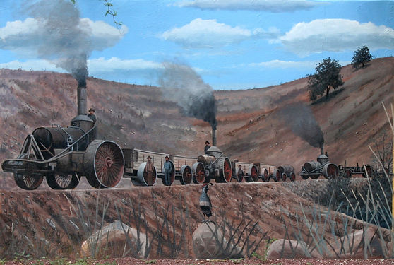 Traction engine hauling ore