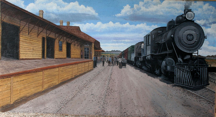 Engine 98 at Benson Depot, c. 1912