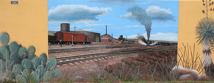 Smelter Train bringing copper ore mural