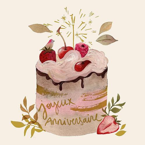 """Carte """"Gâteau d'anniversaire """" GOLD"""