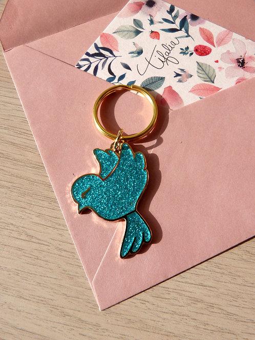 """Porte clés """"Oiseau"""" bleu paillettes"""