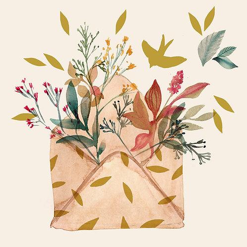"""Carte """"Enveloppe fleurie"""" GOLD"""