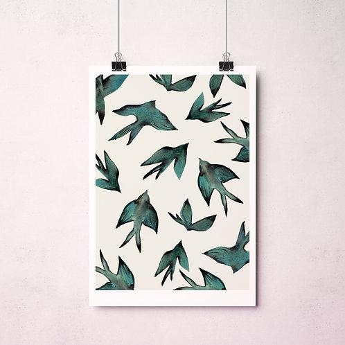 """Affiche """"Blue birds"""""""