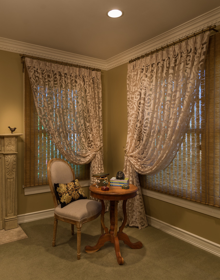 Master Bedroom Patterned Sheers over Woven Wood Shades