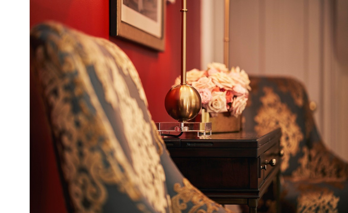Rich Gold on Gray Damask Upholstered Chairs