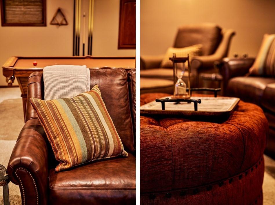 Man Cave Leather Sofa & Ottoman