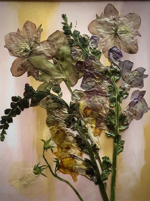 Large Pressed Flower Arrangement #2 on Hand-Painted Bristol Board