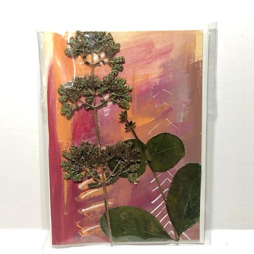 Trumpet Honeysuckle & Oregano Flower Hand-Painted Card