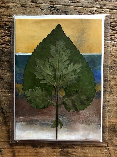 Violet Leaf & Mugwort Hand-Painted Card