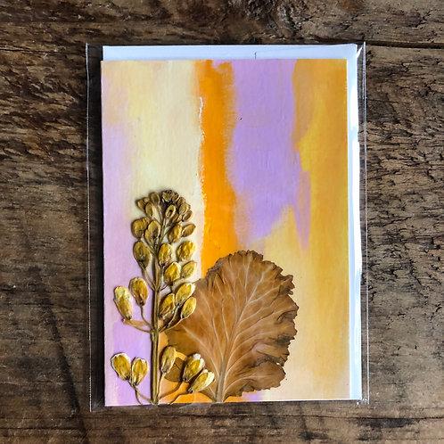 Kale Flower & Collard Leaf Hand-Painted Card