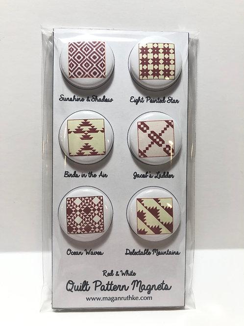 "Red & White Quilt Pattern 1"" Magnet Set"