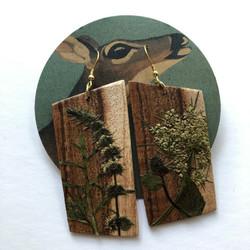 Wood & Pressed Plant Earrings0561