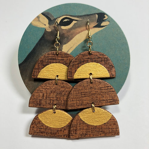 Under/Over Hand-Painted Wood Earrings