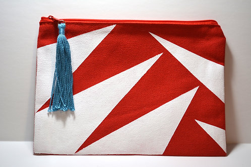 Red & White Hand-Painted Pouch