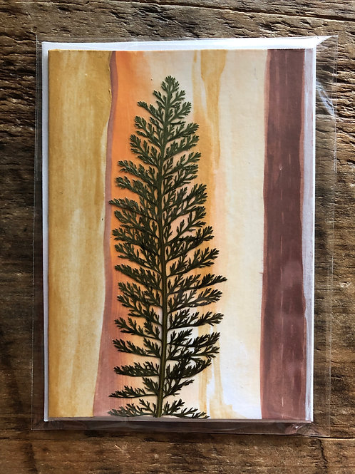 Yarrow Leaf Hand-Painted Card