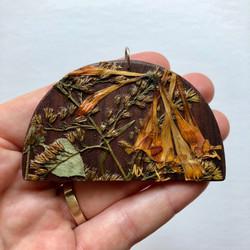 Wood & Pressed Plant Pendant