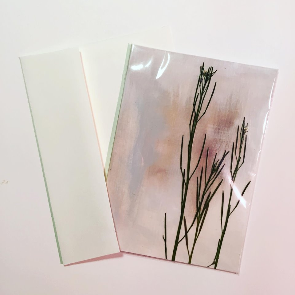 Hand-Painted Card & Pressed Plants