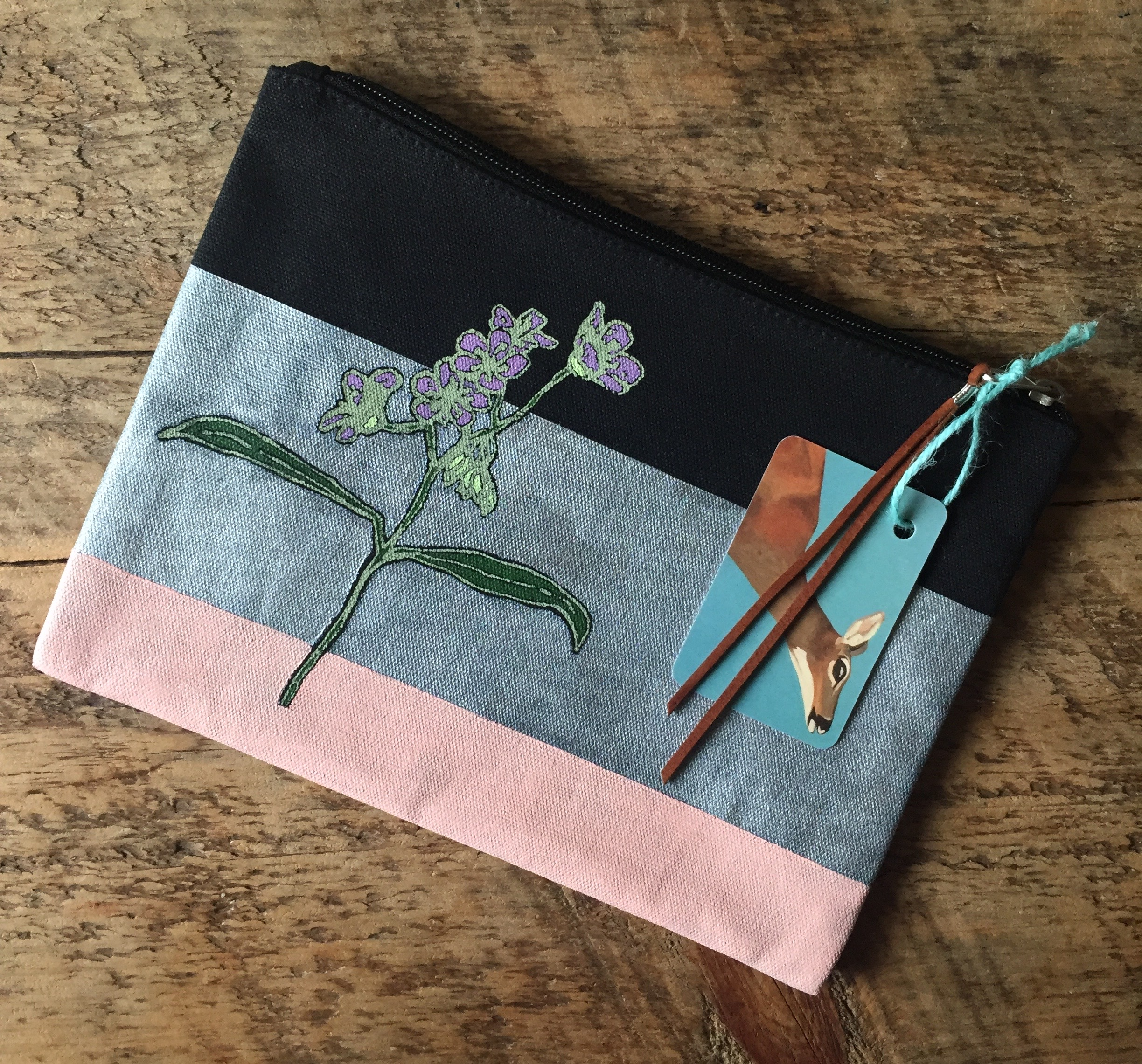 Hand-Painted, Screen Printed Pouch