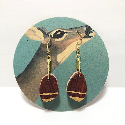 Double Stripe Layered Wood Earrings