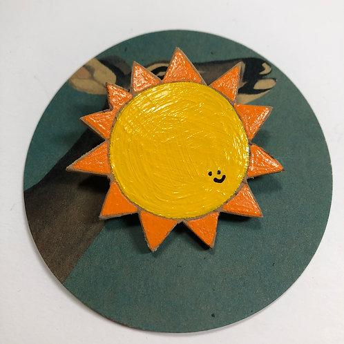 Hello Sunshine Hand-Painted Wood Pin