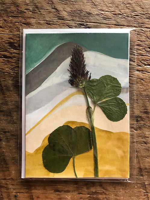 Red Clover Hand-Painted Card