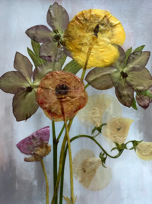 Large Pressed Flower Arrangement on Hand-Painted Bristol Board