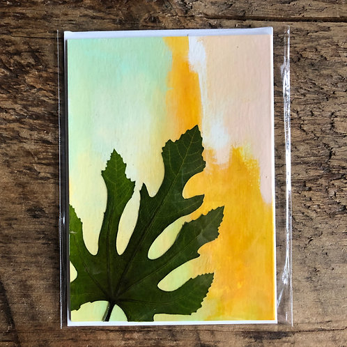 Fig Leaf Hand-Painted Card