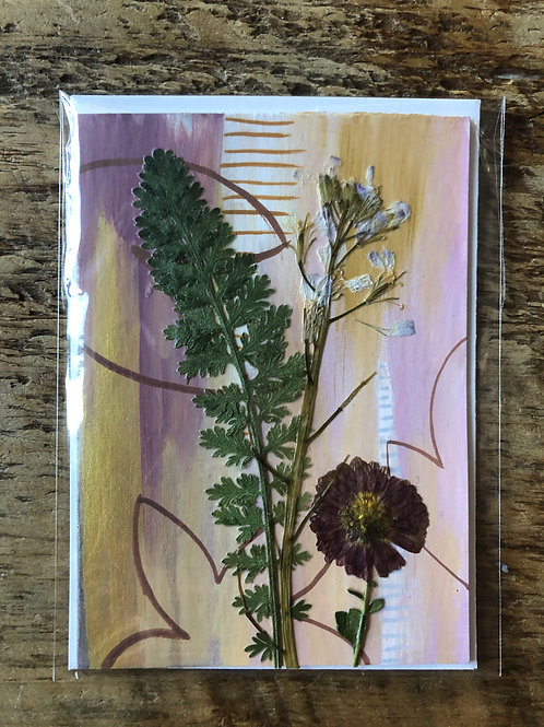 Mum, Yarrow Leaf, & Arugula Flower Hand-Painted Card
