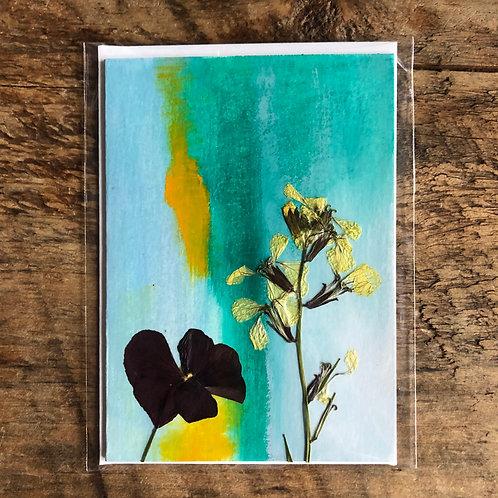 Arugula Flower & Johnny Jump Up Hand-Painted Card