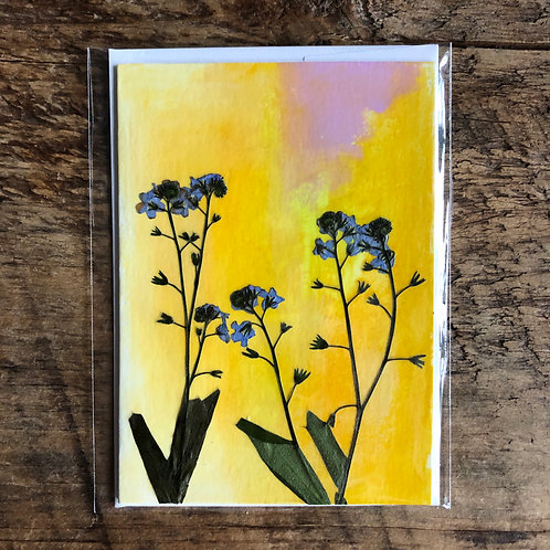 Forget-Me-Nots Hand-Painted Card