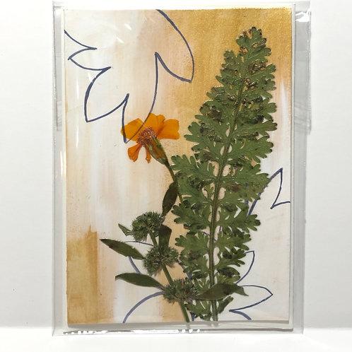 Yarrow Leaf, Bee Balm & Gem Marigold Hand-Painted Card
